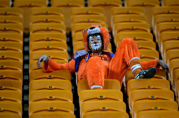 A Dutch fan sit in the stands following the World Cup final soccer match between the Netherlands and Spain at Soccer City in Johannesburg, South Africa, Sunday, July 11, 2010.  Spain won 1-0.  (AP Photo/Frank Augstein)