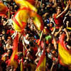 Spanish fans celebrate at Barcelona's Plaza Espana after Spain's defeated the Netherlands 1-0 to win the World Cup soccer final, which is being played in South Africa, on Sunday, July 11, 2010.(AP Photo/David Ramos)
