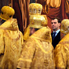 Russian President Dmitry Medvedev looks on as he attends a ceremony at the Christ the Savior Cathedral during a celebration of the  first anniversary of the enthronement of Patriarch Kirill , Patriarch of Moscow and All Russia and Primate of the Russian Orthodox Church, in Moscow on Monday, Feb. 1, 2010. (AP Photo/ Natalia Kolesnikova, Pool)