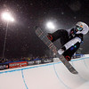 Great Britain's Ben Kilner soars to a third place finish in the men's World Cup snowboard halfpipe event in Canmore, Saturday, Jan. 30. (AP Photo/The Canadian Press, Jeff McIntosh)