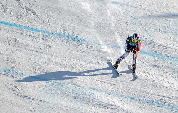 Lindsey Vonn of the United States speeds to the finish in the Women's downhill at the Vancouver 2010 Olympics in Whistler, British Columbia, Wednesday, Feb. 17, 2010. (AP Photo/Gero Breloer)