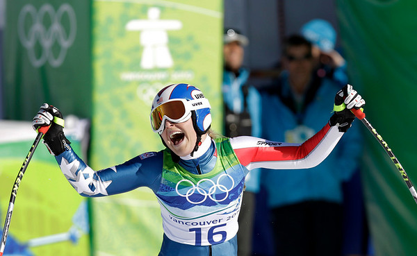 Lindsey Vonn of the United States reacts in the finish area after completing the Women's downhill at the Vancouver 2010 Olympics in Whistler, British Columbia, Wednesday, Feb. 17, 2010.    (AP Photo/Sergey Ponomarev)