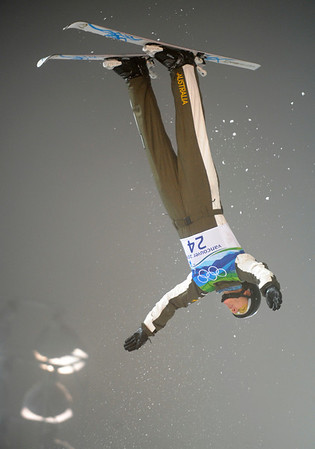 Jacqui Cooper of Australia performs her first jump in the women's freestyle skiing aerials final at the Vancouver 2010 Olympics in Vancouver, British Columbia, Wednesday, Feb. 24, 2010. (AP Photo/Marcio Sanchez)