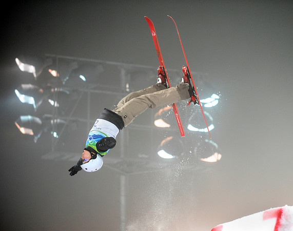 Alla Tsuper of Belarus performs her first jump in the women's freestyle skiing aerials final at the Vancouver 2010 Olympics in Vancouver, British Columbia, Wednesday, Feb. 24, 2010. (AP Photo/Marcio Sanchez)