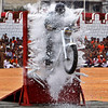 An Indian Army soldier performs a stunt during India's Independence Day celebrations in Bangalore, India, Sunday, Aug. 15, 2010. (AP Photo/Aijaz Rahi)