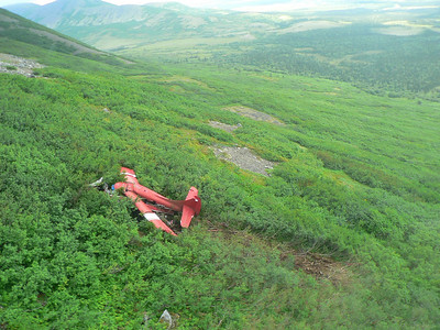 This Aug. 11, 2010 photo released by the National Transportation Safety Board shows the wreckage from the aircraft accident which killed former U.S. Senator Ted Stevens and four others, near Aleknagik, Alaska. A sophisticated beacon was registered to the plane that crashed in Alaska but it wasn't clear whether it was onboard during the flight. (AP Photo/NTSB)