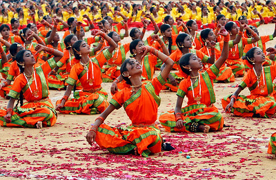 Schoolchildren perform during India's Independence Day celebrations in Bangalore, India, Sunday, Aug. 15, 2010. (AP Photo/Aijaz Rahi)