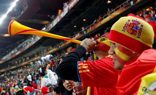 Spain's supporters cheer prior to the World Cup quarterfinal soccer match between Paraguay and Spain at Ellis Park Stadium in Johannesburg, South Africa, Saturday, July 3, 2010.  (AP Photo/Bernat Armague)