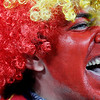 A Spain fan waits for the start of the World Cup quarterfinal soccer match between Paraguay and Spain at Ellis Park Stadium in Johannesburg, South Africa, Saturday, July 3, 2010.  (AP Photo/Eugene Hoshiko)