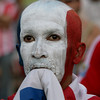 A fan of Paraguay's soccer team gestures after Paraguay lost 1-0 to Spain at the end of a South Africa 2010 World Cup game in Asuncion, Saturday July 3, 2010. (AP Photo/Jorge Saenz)