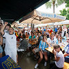 Fans of Germany, left, cheer as fans of Argentina sit and watch during a World Cup quarterfinal soccer match between Argentina and Germany, Saturday, July 3, 2010, at a German restaurant in Miami Beach. Germany won 4-0. (AP Photo/Wilfredo Lee)