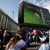 Fans of Argentina's soccer team watch Germany score its fourth goal in a South Africa 2010 World Cup quarterfinal match, shown to the public on a giant screen in Buenos Aires, Saturday July 3, 2010. Argentina went on to lose the 4-0. (AP Photo/Natacha Pisarenko)