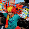 A fan cheers prior to the World Cup quarterfinal soccer match between Paraguay and Spain at Ellis Park Stadium in Johannesburg, South Africa, Saturday, July 3, 2010.  (AP Photo/Themba Hadebe)