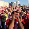 Fans of Paraguay's soccer team react after Spain scored against Paraguay as they watch the South Africa 2010 World Cup game on a screen in Asuncion, Saturday July 3, 2010. Spain won 1-0. (AP Photo/Jorge Saenz)