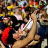 A fan blows a vuvuzela prior to the World Cup quarterfinal soccer match between Argentina and Germany at the Green Point stadium in Cape Town, South Africa, Saturday, July 3, 2010.  (AP Photo/Schalk van Zuydam)