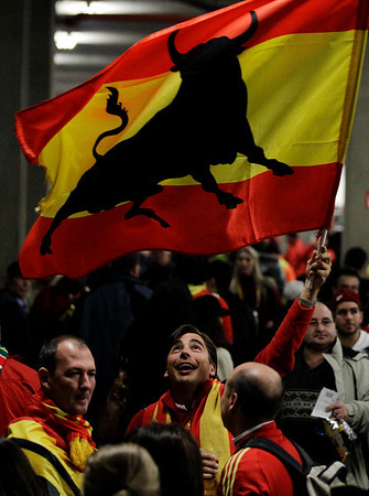 A Spain supporter waves a flag before the World Cup quarterfinal soccer match between Paraguay and Spain at Ellis Park Stadium in Johannesburg, South Africa, Saturday, July 3, 2010.  (AP Photo/Rebecca Blackwell)