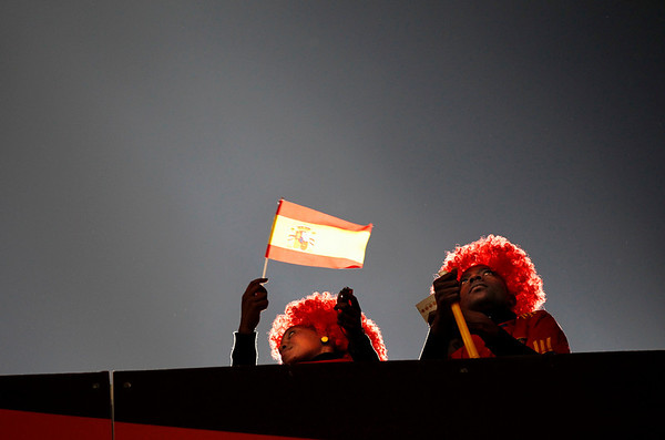 Spain supporters wait for the World Cup quarterfinal soccer match between Paraguay and Spain at Ellis Park Stadium in Johannesburg, South Africa, Saturday, July 3, 2010.  (AP Photo/Bernat Armague)