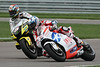 Americans Collin Edwards 5 and Nicky Hayden 69 racing in MotoGP at Indianapolis<br /> ALL RACING IMAGES ARE NOT FOR SALE. THEY ARE STRICTLY FOR DISPLAY PURPOSES ONLY.