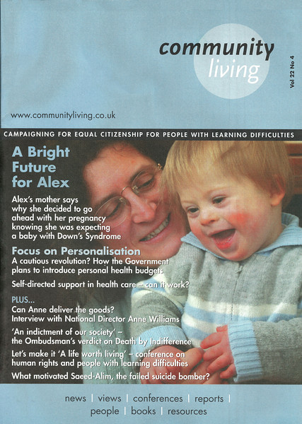 "Cover photo of Alex and his mum for Community Living Magazine -  <a href=""http://www.communityliving.co.uk"">http://www.communityliving.co.uk</a>"