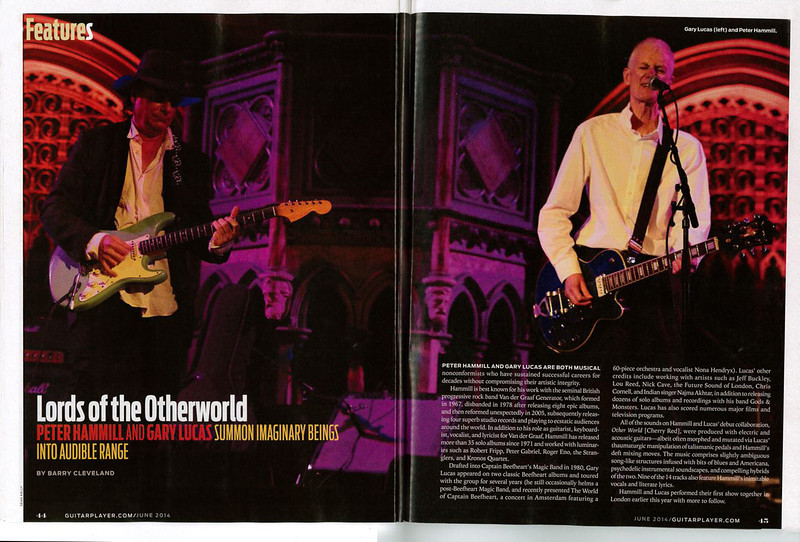 A nice double page spread of my picture of Gary Lucas and Peter Hammill in the June 2014 issue of Guitar Player Magazine.