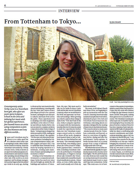 Composer Verity Lane in local paper Tottenham Community Press