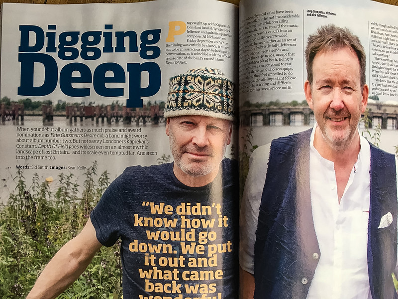 Al and Nick from the band Kaprekar's Constant. This double page spread of my photo accompanies their interview in 'Prog' magazine, December 2019
