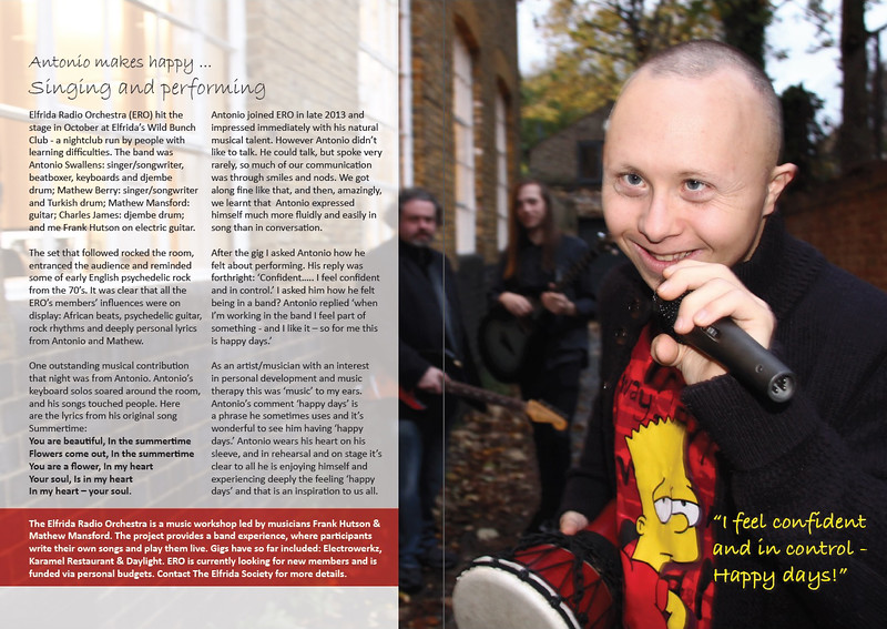 Antonio is a singer and songwriter. From the 2015 Elfrida Society Annual Report