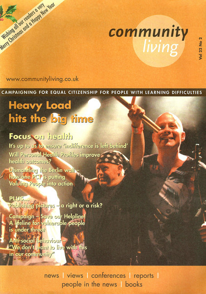 "Heavy Load - live at the ICA -  Heavy Load are a punk band made of people with and without learning difficulties.  This is one of a number of front cover photos I have had with Community Living Magazine  <a href=""http://www.communityliving.co.uk"">http://www.communityliving.co.uk</a>"