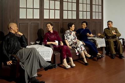 Diorama of Chiang Kai-shek, Soong sisters, and Wang Jingwei,  Presidential Palace, Nanjing
