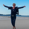 Ina am Strand in Neuengland, USA