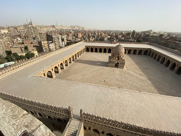 The oldest mosque in Cairo, Mosque of Ibn Tulun, was completed in 879AD Mosque of Muhammad Ali is seen in the distance