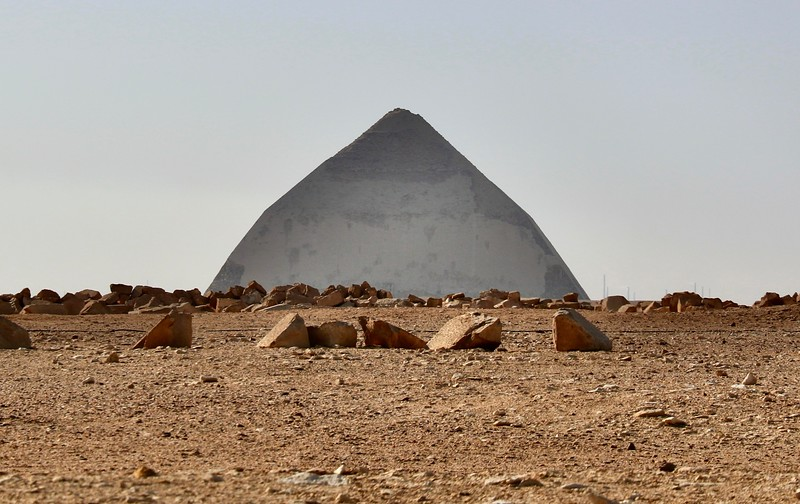 Bent Pyramid - Built circa 2600BC - Archaeologists believe that the shift in the angle near the top of the pyramid was due to signs of structural instability during its construction hence, they had to reduce the angle from 54 degrees to 43 degrees, giving it its name.