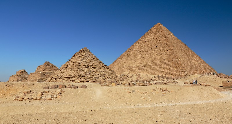 "Pyramid of Menkaure and three smaller ""Queens's Pyramids"""