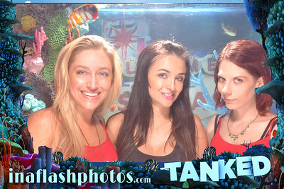 Andrea Robinson, Ashley Elwood and Michelle Marchese enjoying the world's first aquarium photo booth at First Friday, downtown Las Vegas. Tanked on Animal Planet teams up with In A Flash Photos to bring you this fully functional marvel.
