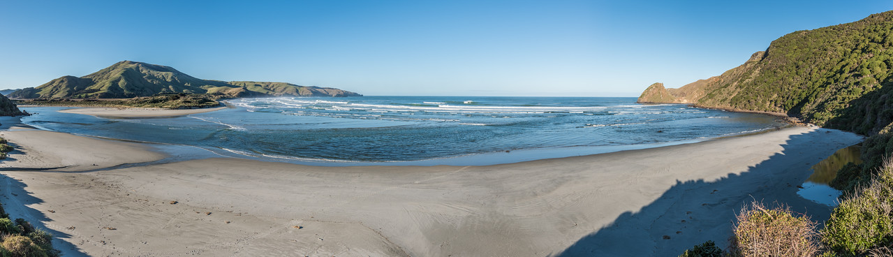 Allans Beach and Hoopers Inlet. Mount Charles/Poatiri above.