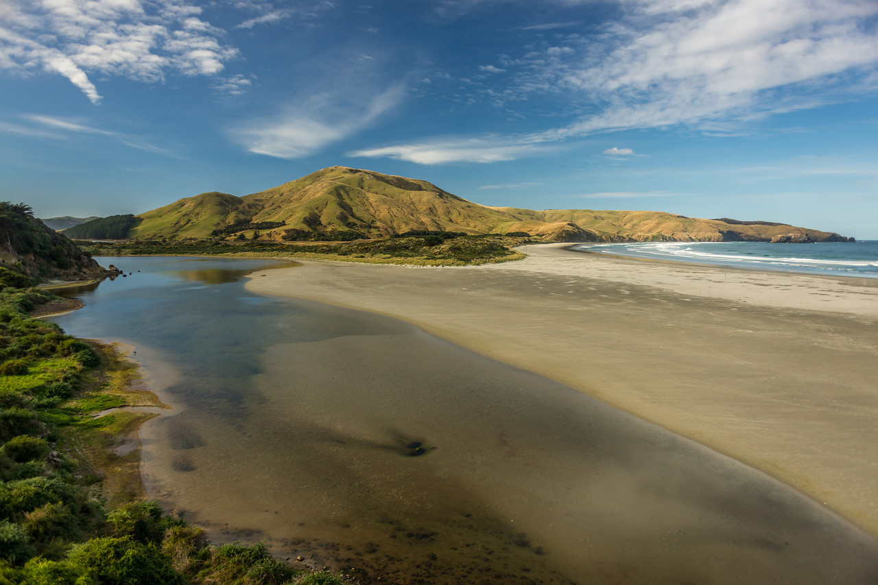 Allans Beach and Hoopers Inlet. Mount Charles/Poatiri above