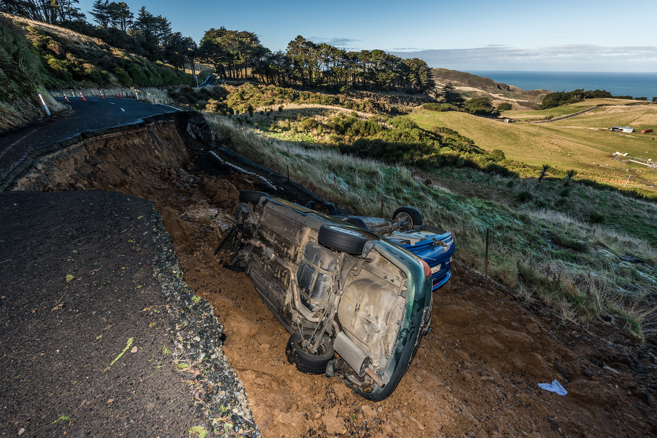 Road damage on Highcliff Rd, near Pukehiki. Otago Peninsula.