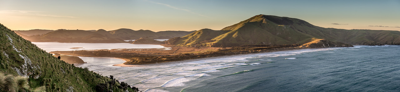 View of Hoopers Inlet, Mount Charles and Allans Beach from the western slopes of Sandymount