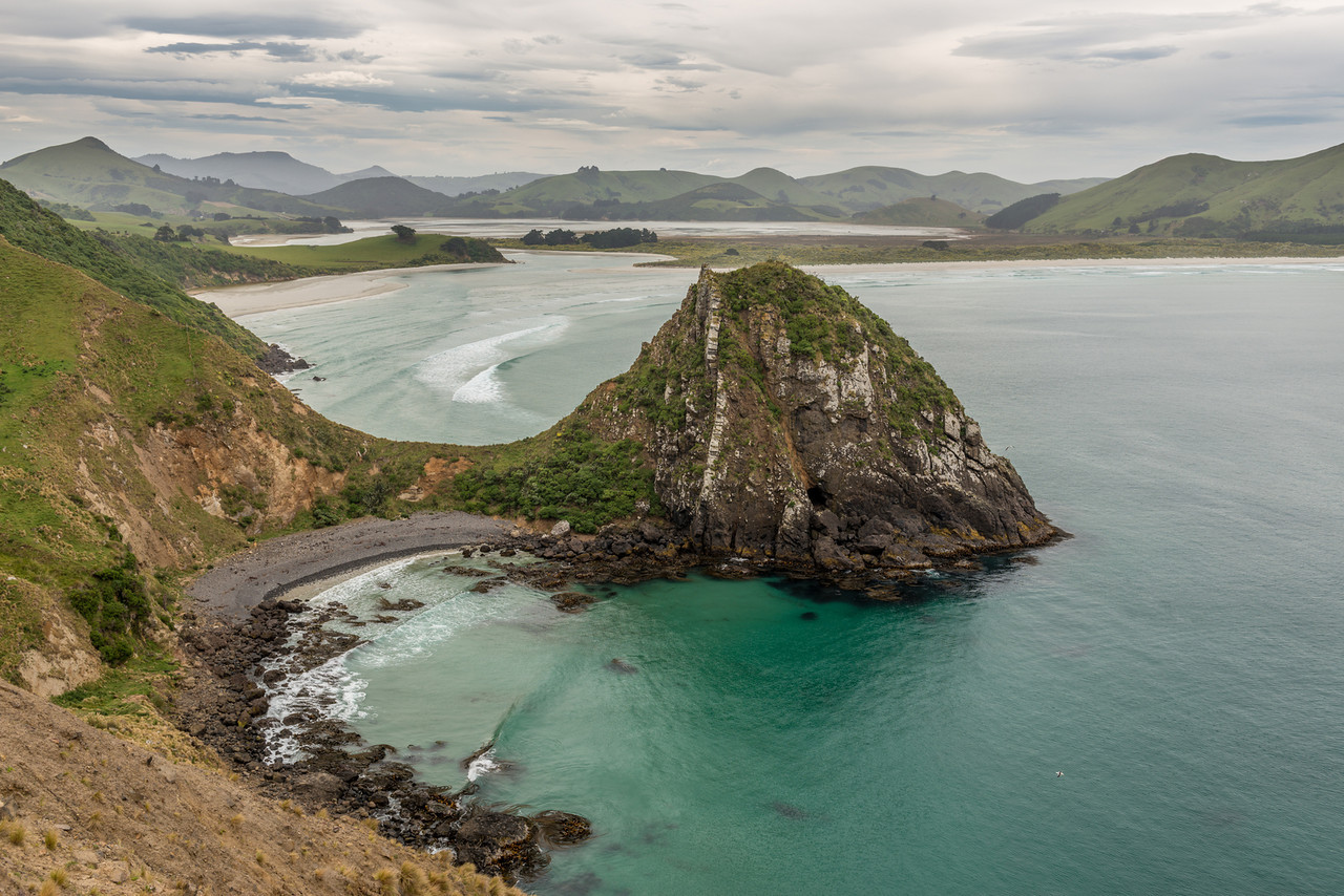 The coastline east of The Chasm. Harbour Cone, Hoopers Inlet and Allans Beach in the background