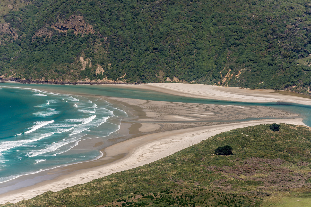 View from Mount Charles: Hoopers Inlet Mouth, Allans Beach