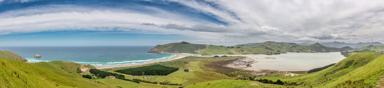 View from the slopes of Mount Charles: Allans Beach, Sandymount, Harbour Cone and Hoopers Inlet