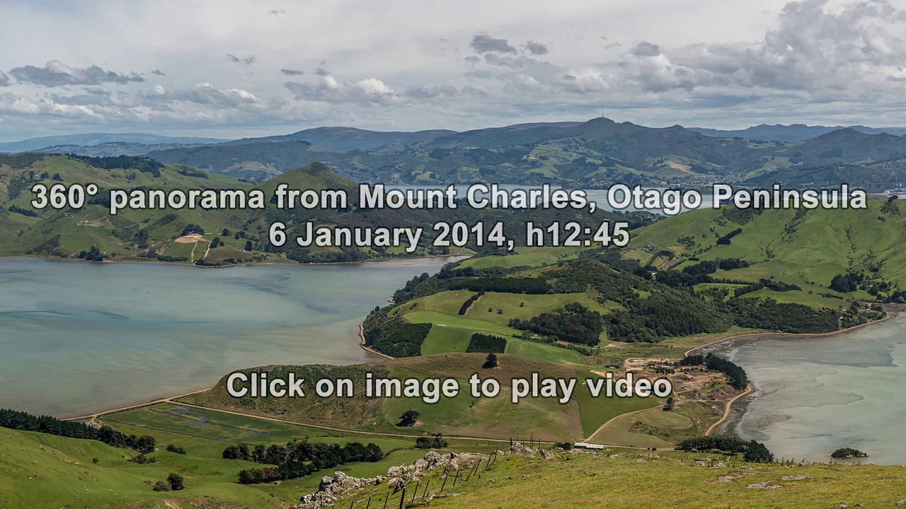 360° panorama from Mount Charles, Otago Peninsula