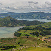 View from Mount Charles: Harbour Cone, Otago Harbour and Mt Cargill. Hoopers Inlet in on the left foreground, Papanui Inlet on the right