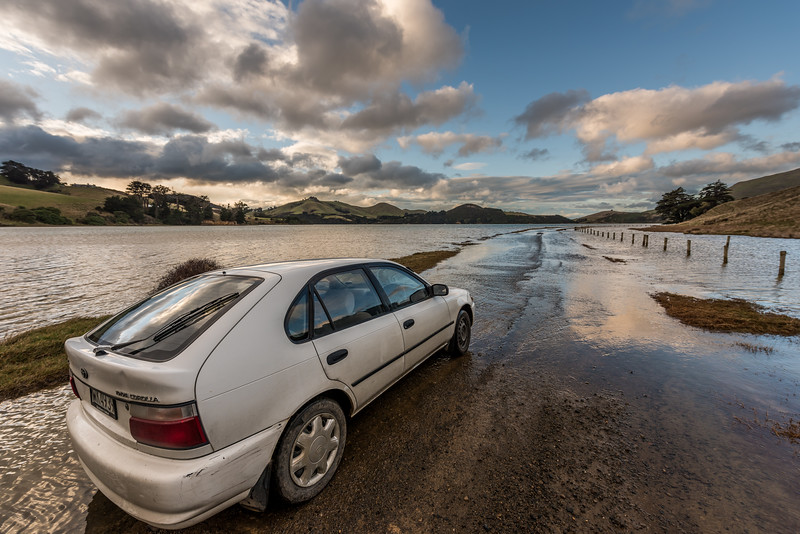 High tide in Papanui Inlet. Otago Peninsula, Dunedin.