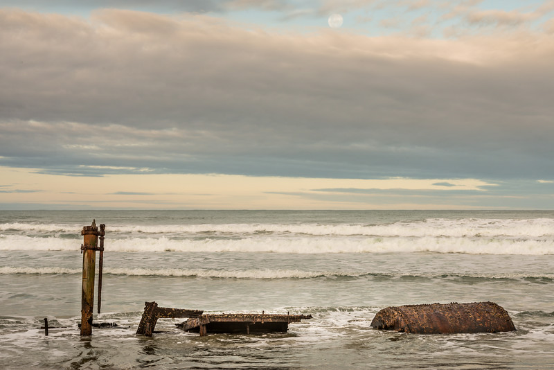 Supermoon above the shipwreck of the whaler Hananui II. Ryans Beach, Otago Peninsula
