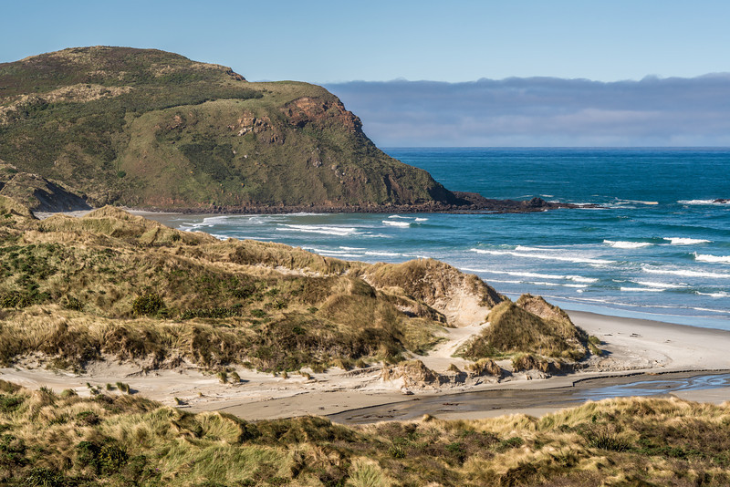 View of Sandfly Bay from the top of the sand dune