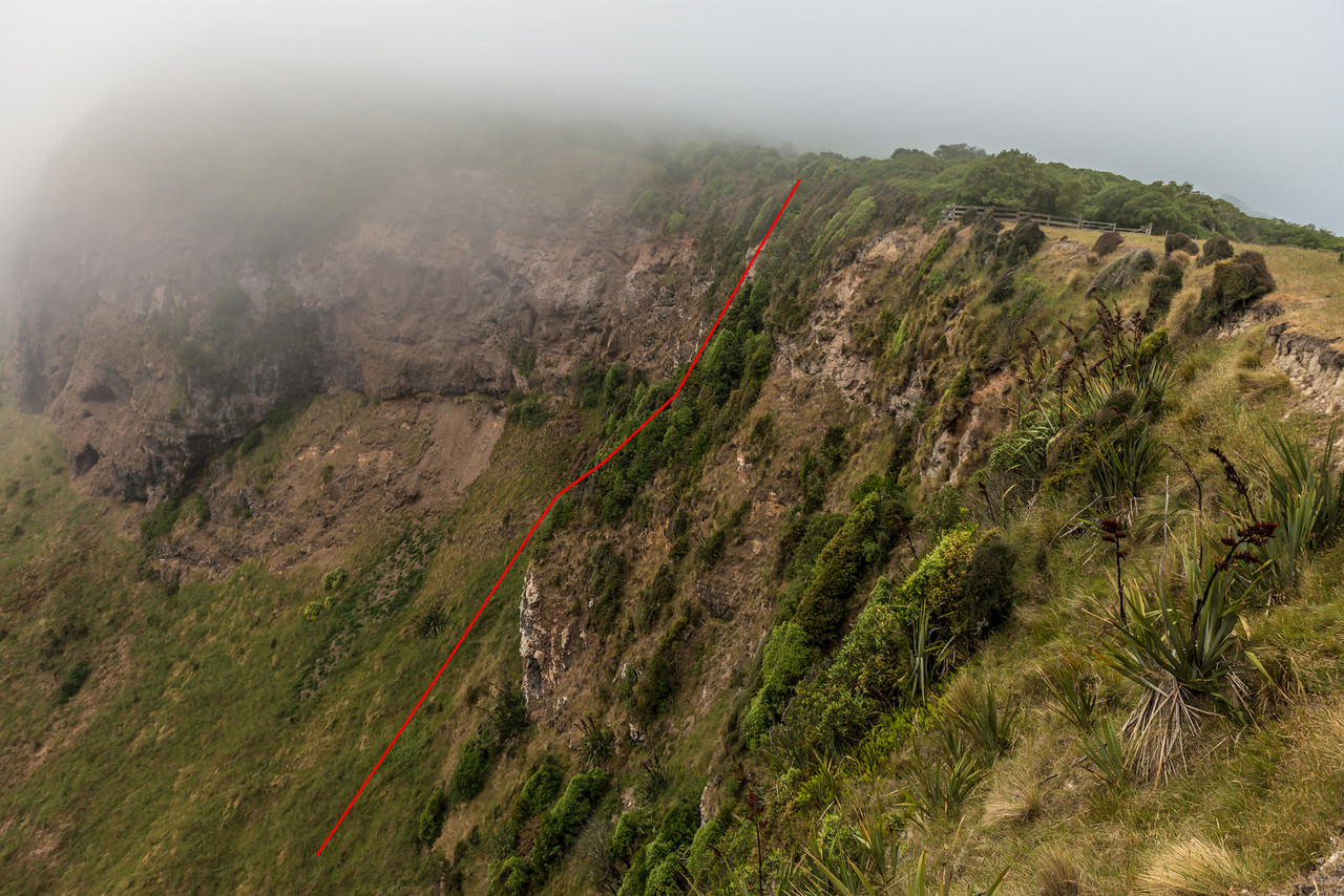 The top section of the route up Jacob's Ladder