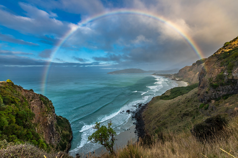 Rainbow over Aramoana Beach. Heyward Point, Dunedin.