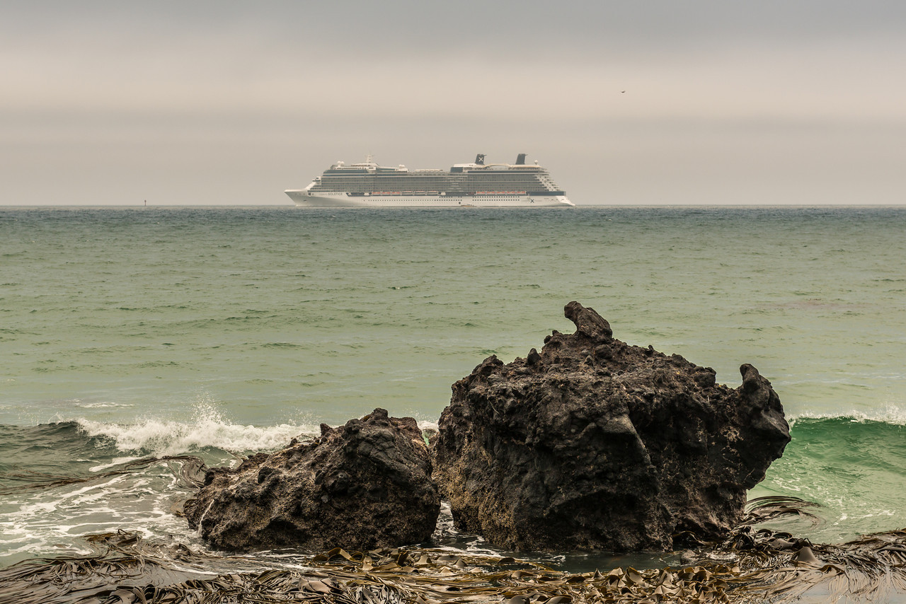 Cruiseship 'Celebrity Solstice' off the coast at Aramoana Beach