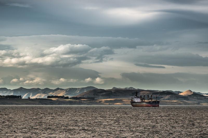 Azzura cargo ship off the coast of Otago
